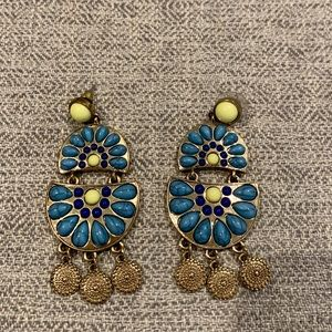 Blue, Yellow and Gold Chandelier Earrings
